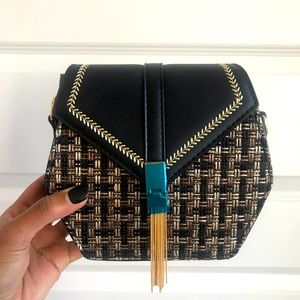 NWT Boutique Hexagon Shoulder Bag Black